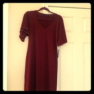 Red Dress with beads on Sleeves